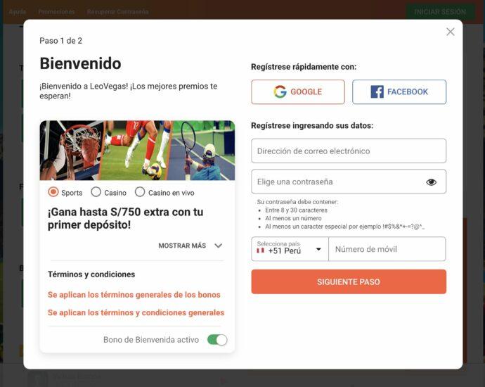 LeoVegas Registro Online