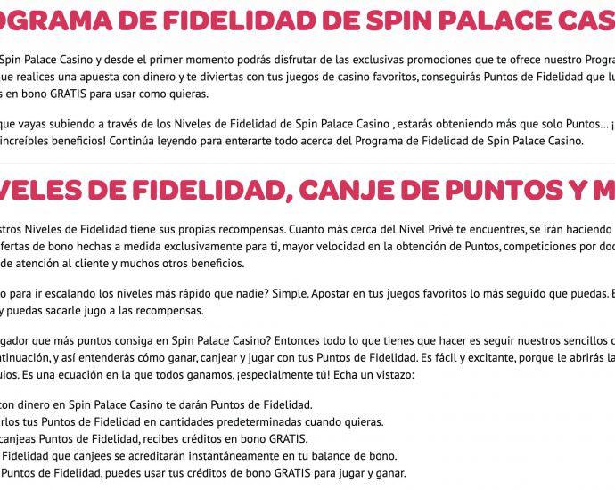 Spin Casino Programa de Fidelidad