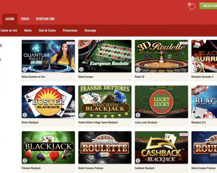 Sportium Juegos de Casino