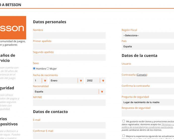 Betsson Registrarse