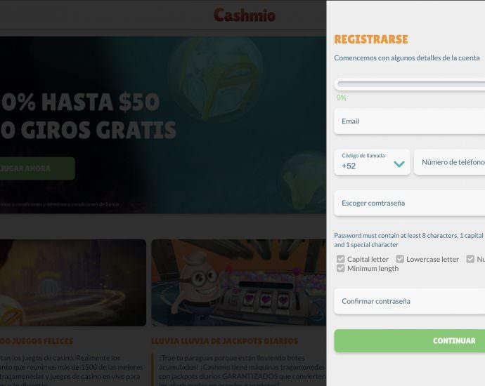 Cashmio Registrarse